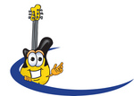 Clip Art Graphic of a Yellow Electric Guitar Cartoon Character Logo With a Blue Dash