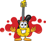Clip Art Graphic of a Yellow Electric Guitar Cartoon Character Logo With Red Paint Splatters