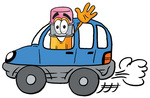 Clip Art Graphic of a Yellow Number 2 Pencil With an Eraser Cartoon Character Driving a Blue Car and Waving