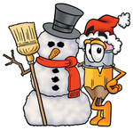 Clip Art Graphic of a Yellow Number 2 Pencil With an Eraser Cartoon Character With a Snowman on Christmas