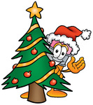 Clip Art Graphic of a Yellow Number 2 Pencil With an Eraser Cartoon Character Waving and Standing by a Decorated Christmas Tree