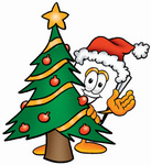 Clip Art Graphic of a White Copy and Printer Paper Cartoon Character Waving and Standing by a Decorated Christmas Tree
