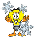 Clip Art Graphic of a Yellow Electric Lightbulb Cartoon Character With Three Snowflakes in Winter