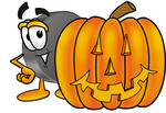 Clip Art Graphic of an Ice Hockey Puck Cartoon Character With a Carved Halloween Pumpkin