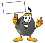 Clip Art Graphic of an Ice Hockey Puck Cartoon Character Holding a Blank Sign