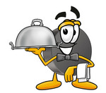 Clip Art Graphic of an Ice Hockey Puck Cartoon Character Dressed as a Waiter and Holding a Serving Platter