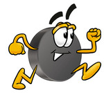 Clip Art Graphic of an Ice Hockey Puck Cartoon Character Running