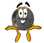 Clip Art Graphic of an Ice Hockey Puck Cartoon Character Sitting