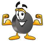 Clip Art Graphic of an Ice Hockey Puck Cartoon Character Flexing His Arm Muscles