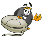 Clip Art Graphic of an Ice Hockey Puck Cartoon Character With a Computer Mouse