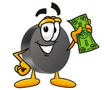 Clip Art Graphic of an Ice Hockey Puck Cartoon Character Holding a Dollar Bill