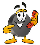 Clip Art Graphic of an Ice Hockey Puck Cartoon Character Holding a Telephone