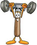 Clip Art Graphic of a Hammer Tool Cartoon Character Holding a Heavy Barbell Above His Head
