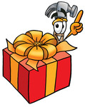 Clip Art Graphic of a Hammer Tool Cartoon Character Standing by a Christmas Present