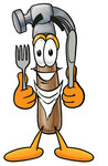 Clip Art Graphic of a Hammer Tool Cartoon Character Holding a Knife and Fork