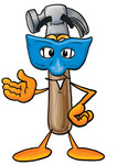 Clip Art Graphic of a Hammer Tool Cartoon Character Wearing a Blue Mask Over His Face