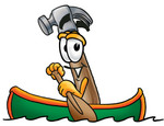 Clip Art Graphic of a Hammer Tool Cartoon Character Rowing a Boat