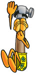 Clip Art Graphic of a Hammer Tool Cartoon Character Plugging His Nose While Jumping Into Water
