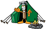 Clip Art Graphic of a Hammer Tool Cartoon Character Camping With a Tent and Fire