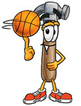 Clip Art Graphic of a Hammer Tool Cartoon Character Spinning a Basketball on His Finger