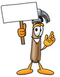 Clip Art Graphic of a Hammer Tool Cartoon Character Holding a Blank Sign
