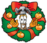 Clip Art Graphic of a Hammer Tool Cartoon Character in the Center of a Christmas Wreath