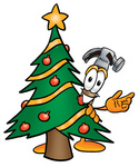 Clip Art Graphic of a Hammer Tool Cartoon Character Waving and Standing by a Decorated Christmas Tree