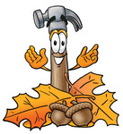 Clip Art Graphic of a Hammer Tool Cartoon Character With Autumn Leaves and Acorns in the Fall