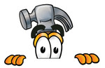 Clip Art Graphic of a Hammer Tool Cartoon Character Peeking Over a Surface