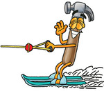 Clip Art Graphic of a Hammer Tool Cartoon Character Waving While Water Skiing