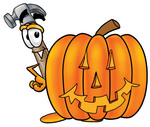 Clip Art Graphic of a Hammer Tool Cartoon Character With a Carved Halloween Pumpkin