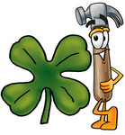 Clip Art Graphic of a Hammer Tool Cartoon Character With a Green Four Leaf Clover on St Paddy's or St Patricks Day