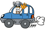 Clip Art Graphic of a Hammer Tool Cartoon Character Driving a Blue Car and Waving