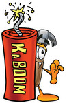 Clip Art Graphic of a Hammer Tool Cartoon Character Standing With a Lit Stick of Dynamite