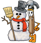 Clip Art Graphic of a Hammer Tool Cartoon Character With a Snowman on Christmas