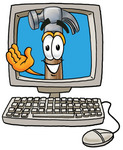 Clip Art Graphic of a Hammer Tool Cartoon Character Waving From Inside a Computer Screen
