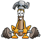 Clip Art Graphic of a Hammer Tool Cartoon Character Lifting a Heavy Barbell