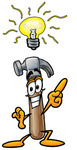 Clip Art Graphic of a Hammer Tool Cartoon Character With a Bright Idea