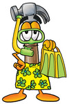 Clip Art Graphic of a Hammer Tool Cartoon Character in Green and Yellow Snorkel Gear