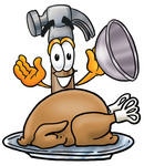Clip Art Graphic of a Hammer Tool Cartoon Character Serving a Thanksgiving Turkey on a Platter