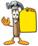 Clip Art Graphic of a Hammer Tool Cartoon Character Holding a Yellow Sales Price Tag