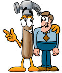 Clip Art Graphic of a Hammer Tool Cartoon Character Talking to a Business Man