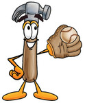 Clip Art Graphic of a Hammer Tool Cartoon Character Catching a Baseball With a Glove