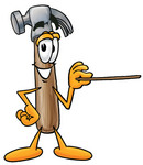 Clip Art Graphic of a Hammer Tool Cartoon Character Holding a Pointer Stick