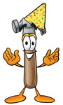 Clip Art Graphic of a Hammer Tool Cartoon Character Wearing a Birthday Party Hat