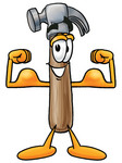 Clip Art Graphic of a Hammer Tool Cartoon Character Flexing His Arm Muscles