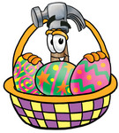 Clip Art Graphic of a Hammer Tool Cartoon Character in an Easter Basket Full of Decorated Easter Eggs