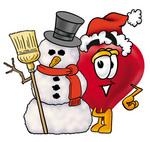 Clip Art Graphic of a Red Love Heart Cartoon Character With a Snowman on Christmas
