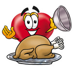 Clip Art Graphic of a Red Love Heart Cartoon Character Serving a Thanksgiving Turkey on a Platter