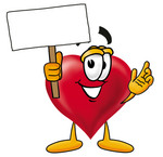 Clip Art Graphic of a Red Love Heart Cartoon Character Holding a Blank Sign